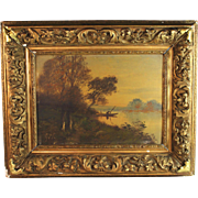 19c French School oil on panel landscape painting