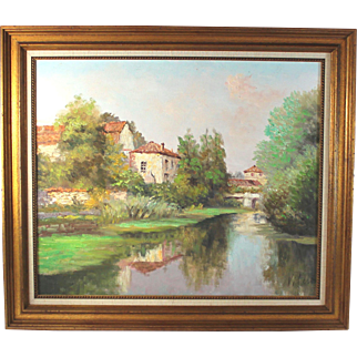 Continental School oil on Canvas View of a Village by a Stream