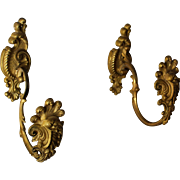 Antique Gilded Bronze Drapery Curtain Tie Backs, Tiebacks C