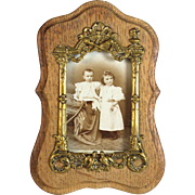 Unusual Antique French Wood and Bronze Picture Photo Frame