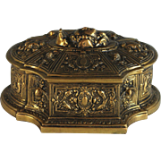 Antique Gilded Sculpted Bronze Box with Profile Head
