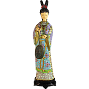 Vintage Cloisonne Japanese Geisha with Moveable Ornaments