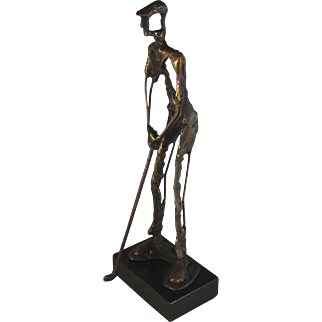 Brutalist Abstract Golfer Sculpture Signed and Numbered