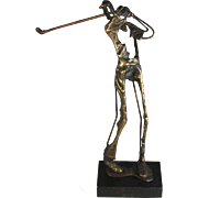 Brutalist Abstract Golfer Sculpture Signed and Numbered By Clark