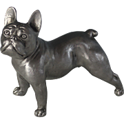 Silvered Bronze Dog Sculpture French Bulldog