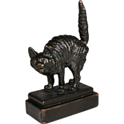 Cold Painted Pompeian Bronze Clad Cat Sculpture