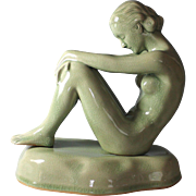 Vintage Thai Celadon Figure of a Nude Girl Sitting on a Base