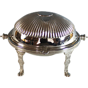Antique Silverplate Roll Top Server Silver Plate Small