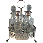 Antique English Silverplate Cruet Set 5 Inserts Silver Plate