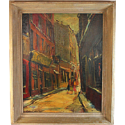 "Oil on Board Painting by American Artist Pascal (Pat) Cucaro (1915-2004) titled ""Street Scene"""