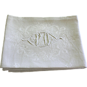 Set of Twelve Antique French Linen Napkins Monogram P O