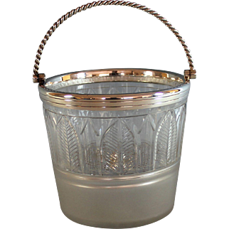Vintage Crystal and Silverplate Ice Bucket with Pick and Tongs Silver Plate