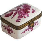 Vintage Porcelain Trinket Pill Box with Pink Roses Made in France