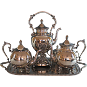 Vintage Sheridan Silverplate Tea Coffee Set with Tray Silver Plate