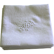 Nine Antique French Linen Napkins Monogram H C