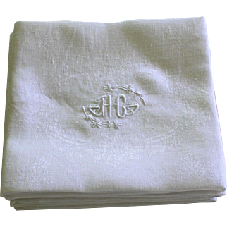 Nine Antique French Linen Napkins Monogram H C