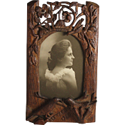 WW I Hand Carved Wood Picture Photo Frame 1917