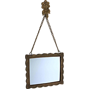 Antique Bronze Mirror on Chain and Decorative Bronze Back