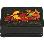 Vintage Russian Handpainted Lacquer Box, Small Signed
