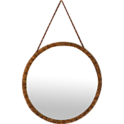 Vintage Gilt Wood Round mirror with Cord Hanger