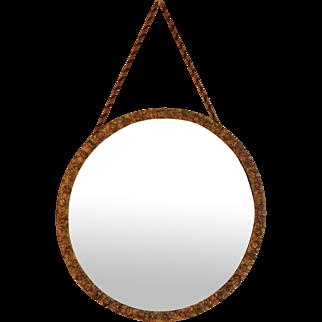 Vintage Gilt Wood Round mirror with Cord Hanger