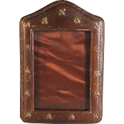 Antique Napoleonic Photo Frame Leather with Bronze Bees