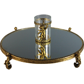Vintage Vanity Mirrored Plateau with Cherubs Putti and Glass