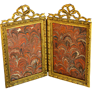 Antique Bow Top Gilt Bronze Double Picture Photo Frame