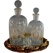 Pair of Antique French Etched Glass Scent Bottles