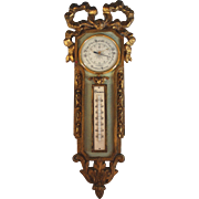 Antique French Gilded Barometer Thermometer