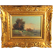 French School Oil on Panel landscape by T.H Linsyer
