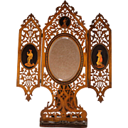 19th C Sorrento Ware Wood Vanity Mirror Grand Tour