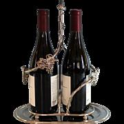 Vintage Silverplate Double Wine bottle Holder Silver Plate