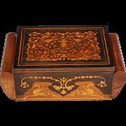 Antique Art Deco Inlaid Wood Box with Birds