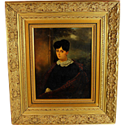 19th Century French School Oil on Canvas Portrait of a Lady with a Tartan Shawl