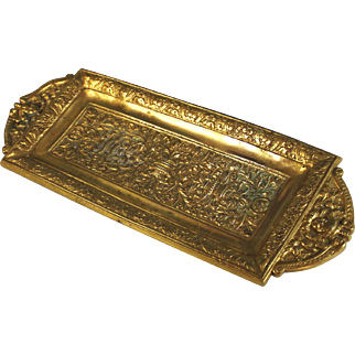 Antique French Molded Bronze Pen Tray