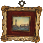 Antique Grand Tour Miniature Painting of Venice Doge's Palace