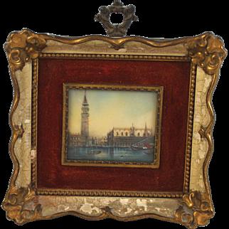 Antique Grand Tour Miniature Painting of Venice Doge's Palace