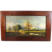 Barbizon style Oil on Panel  Landscape Signed Maurice Andre
