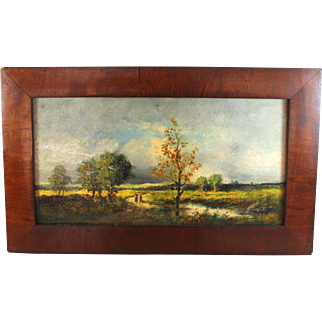 Barbizon style Oil on Panel  Landscape Signed Maurice Andre