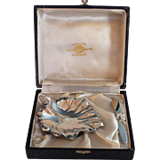 Vintage Boxed Set of Silverplate Butter Dish and Spreader