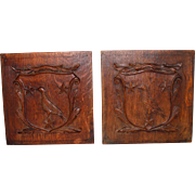 Pair of Antique solid Wood Hand Carved Panels Birds