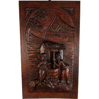 Antique French Hand Carved Wood Relief Panel Romantic Scene