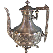 Antique French Aesthetic Movement Silverplate Coffee Pot Silver Plate