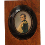Antique Hand Painted Miniature Portrait Napoleon Bonaparte Wood Frame