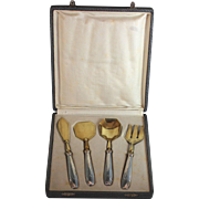 Antique Hors D'oeuvres Serving Utensil Set Sterling Silver Handled, box