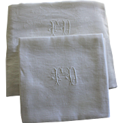 "Antique French White Monogrammed Napkins F D Set of 12 with Tablecloth 84"" x 61"""