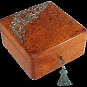Antique French Burl Wood Veneer Box with Bird Decoration
