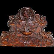 Antique French Hand Carved Hardwood Overdoor Pediment 18th C