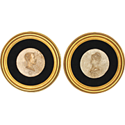 Two Antique Round Portrait Relief Sculptures of a French Couple 1884